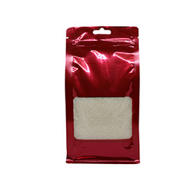 Coloured flat bottom pouch with zipper / window - Red