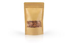 Brown kraft paper standup pouch with zipper / matt window