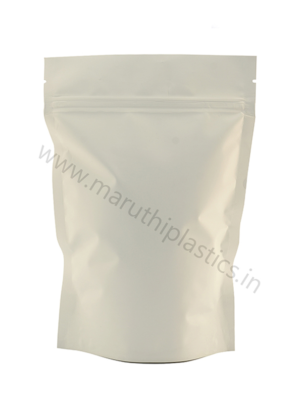 Matte White Stand Up Pouch With Zipper