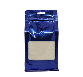 Coloured flat bottom pouch with zipper / window - Blue